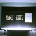 Eric Baudelaire, <em>The Makes (Morning and Evening)</em>, found Japanese film stills, page torn from That Bowling Alley on the Tiber by Michelangelo Antonioni, Plexiglas, steel and fluorescent tubing, 2009