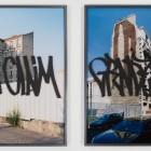 Eric Baudelaire, <em>Bilnd Walls (I Claim)</em>, c-print, acrylic, paint diptych, 2007
