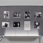 Eric Baudelaire, <em>The Makes (The Story of a Love Affair That Never Existed)</em>, Found Japanese film stills, page torn from That Bowling Alley on the Tiber by Michelangelo Antonioni, Plexiglas, steel and fluorescent tubing, 2009