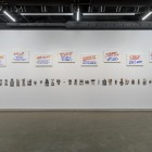 Installation view, Luis Jacob, <em>Habitat</em>, 2017. Featuring <em>Album XIV</em>, 2016–17. Image montage in plastic laminate, 104 panels with mannequin; <em>Public Domain</em>, 2017. Tempera and pencil on Gatorboard, hand painted by Wayne Reuben, 22 panels. Documentation: Toni Hafkenscheid.