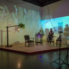 Cauleen Smith, <em>The Hold</em>, 2017. Multi-channel video, video projectors, stereo speakers, CCTV cameras, camera tripods, furniture, figurines. Documentation: Toni Hafkenscheid.